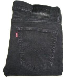 Hommes-Levi-039-s-519-Noir-0005-Extreme-Coupe-Skinny-Jeans-Extensible-W36-L32