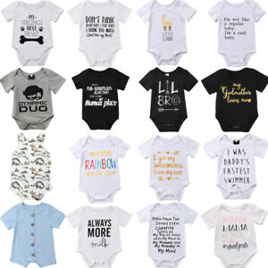 f01249204 Details about Cotton Newborn Baby Boy Girl Romper Bodysuit Jumpsuit Clothes  Outfits Summer
