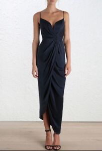 3ba52235e9 Image is loading Zimmermann-Sueded-Silk-Plunge-Long-Dress-Navy-Cocktail-