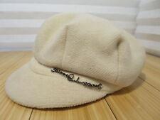 Authentic White/Cream Colored Wool Burberry Newsboy Cabbie Hat Cap Size Medium