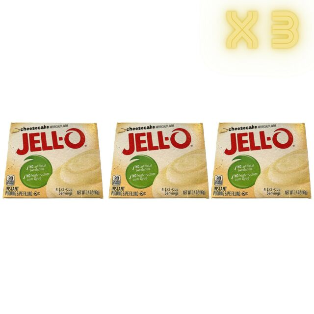3 PACK Jell-O Cheesecake Instant Pudding Mix 96g Jello USA NEW