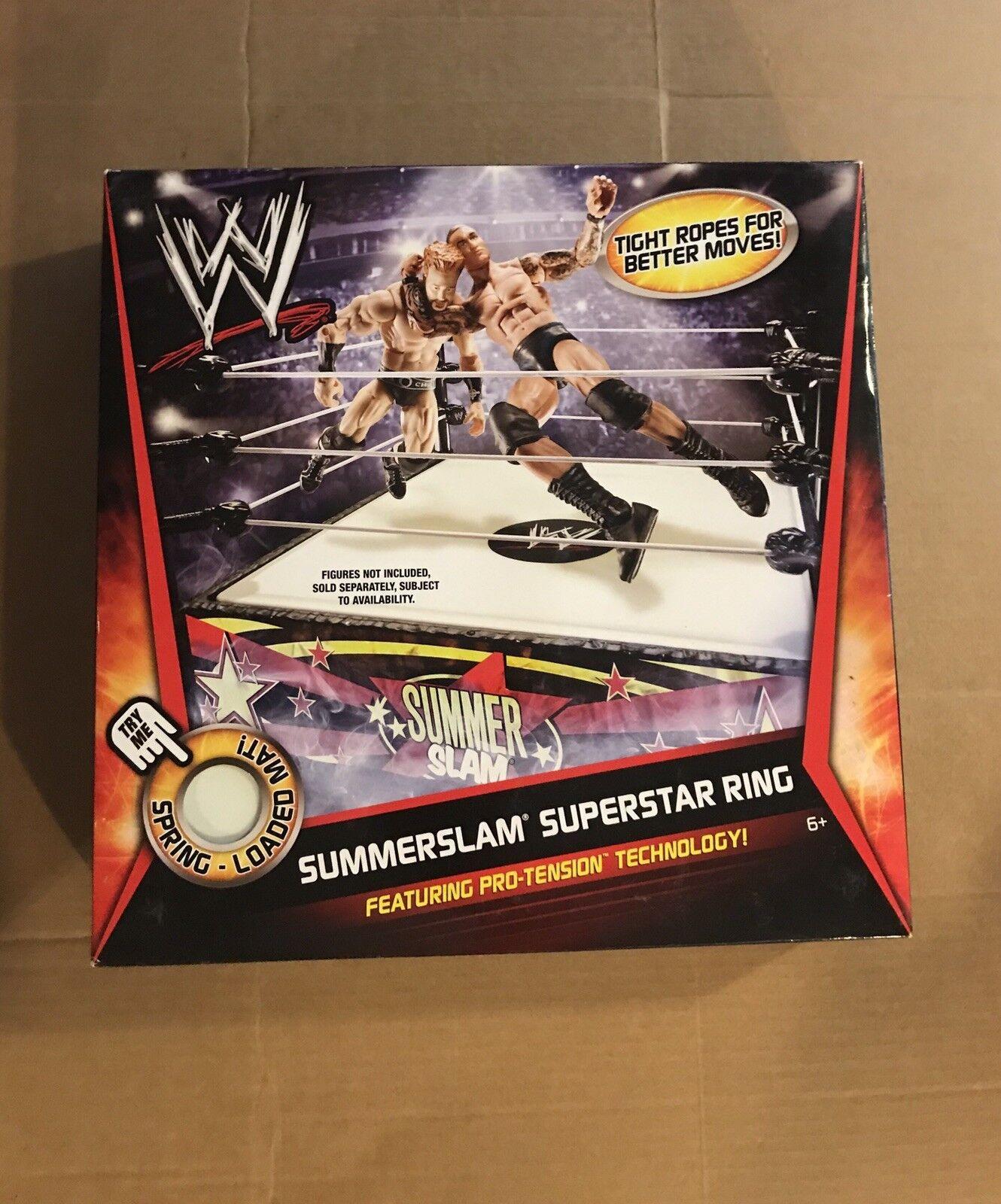 WWE Mattel SUMMERSLAM SUPERSTAR WRESTLING RING NEW NIB SPRING LOADED MATT 2010