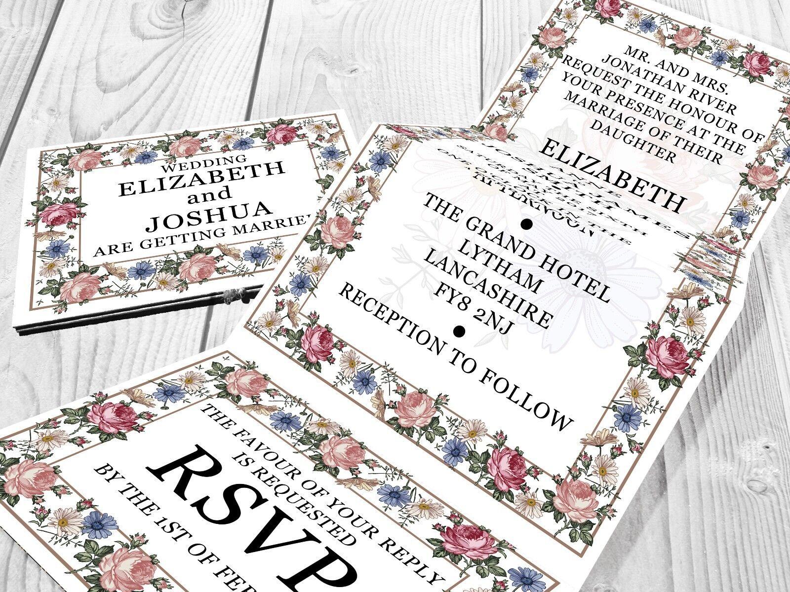 Personalised HANDMADE Flower Wedding Day Invites Evening Invitations + Envelope