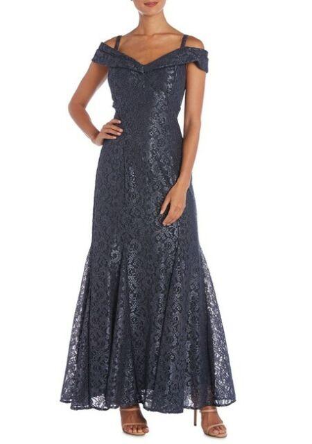 R & M Richards Off-The-Shoulder Lace Gown MSRP $139 Size 10 # 7A 1374 Blm
