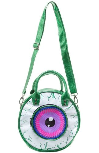 New Kreepsville 666 Eyeball Bag Green Glitter Horror Fashion Hand Bags Shoulder