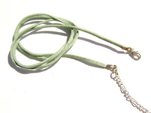 85ac26ddbb463 Cord Necklace Choker Faux Vegan Leather Suede Lime Green Made in USA ...