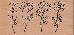 rose-border-psx-Wood-Mounted-Rubber-Stamp-2-1-2-x-5-034-Free-Shipping