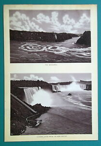NIAGARA-FALLS-Whirlpool-amp-View-fro-American-Side-1892-Antique-Lithograph