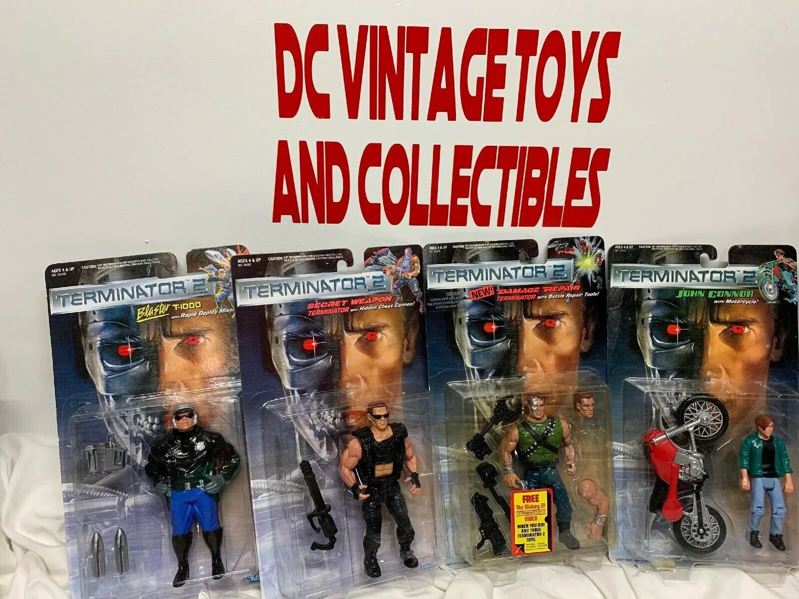 Vintage 1991 Kenner Lot of 4 Terminator 2 T2 Judgessit Day azione cifra Lot nuovo
