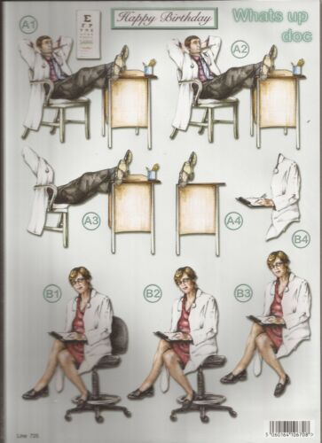 051-725 Doctor Birthday Decoupage A4 Die Cut 3D Sheet