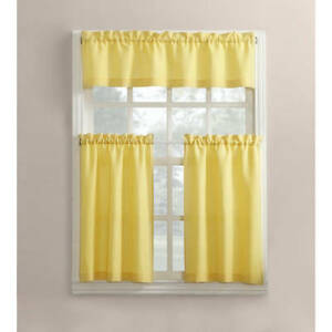 Details about Modern Sunny Yellow 3 Piece Kitchen Curtains Set Valance &  Tiers Cafe Curtains