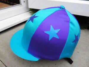Équitation Chapeau soie tête Cap couverture Turquoise & Violet * Stars avec ou sans pompon-afficher le titre d`origine gODJ0cb5-07140938-713723509
