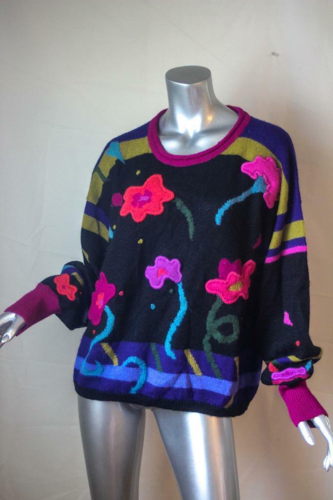 Womans Vintage Vintage Vintage PERUVIAN CONNECTION Floral 100% Alpaca Sweater Size L cd6c2e