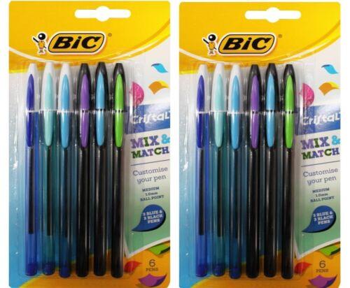 BIC CRISTAL MIX /& MATCH MEDIUM BALL POINT PENS 6 x BLUE AND 6 x BLACK BRAND NEW