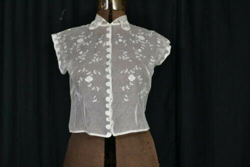 vintage blouse dicky white lace Victorian style … - image 1