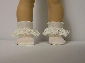 Fits-18-Inch-Tiny-Tears-Doll-Ivory-Lace-Trim-Socks
