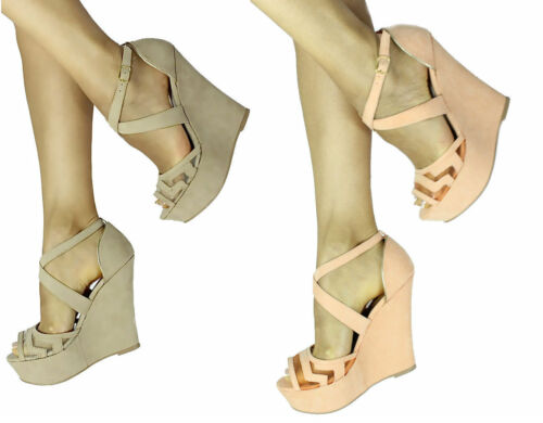 New Qupid Finder 169 Mesh Open Toe Wedge Platform Heels Shoes Size 5.5-10