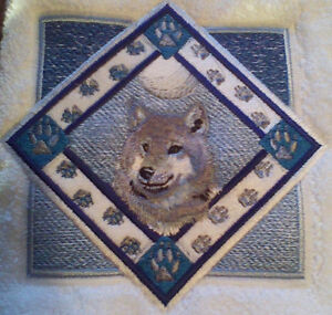 Wolf Triangle Embroidered Set 2 Bathroom Hand Towels Ebay