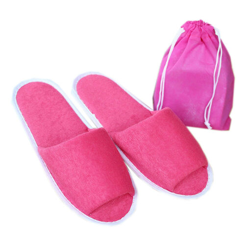 Unisex Portable Folding Slipper Hotel Guest Open Toe Towelling Slipper with Bag