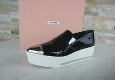 MIU MIU Gr 35,5 Lack Plateau Slipper Slip-Ons Schuhe shoes schwarz NEU UVP 450 €