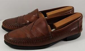 STACY ADAMS Men Slip-On Brown Leather Weaved Moc Toe Dress Loafers Shoes (9.5 M)