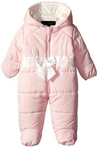 Steve Madden Baby Girls Newborn Pearlized Bow Pink Puffer Snowsuit 3-6 Months