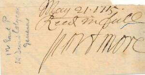 1715 General David Colyear Autographed Signed Cut 1st Earl of Portmore Scottish