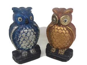 """VTG Lucite Resin Owl Bookends Blue Orange Felt Back  MId Century 8.5"""" Tall GUC"""