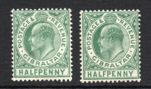 Gibraltar-2-x-1-2d-Stamps-c1906-11-Mounted-Mint-Hinged-3011