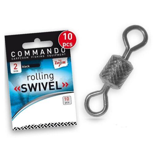 10 Microwirbel Karpfenwirbel Tönnchenwirbel Rolling Swivel Größe 2-14