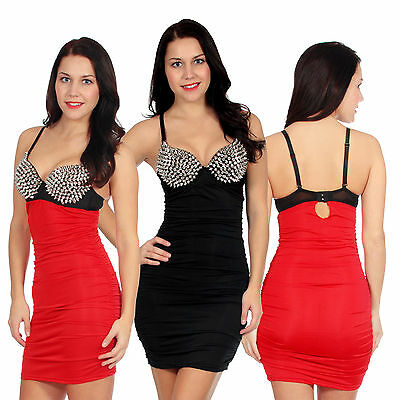 Ladies Bodycon Dress Spike Studded Padded Bra Stretch Cocktail Top Mini Dress