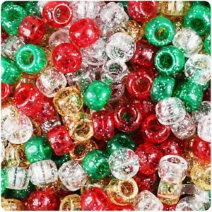 3-FOR-2-100-x-Christmas-Mix-Sparkle-9x6mm-Barrel-Pony-Highest-Quality-Beads
