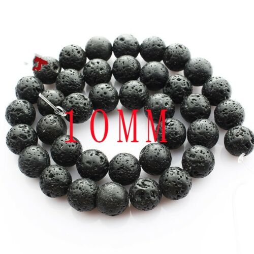 Wholesale 1Strand Natural Black Volcano Stone Round Loose Beads 15.5inch HH3572