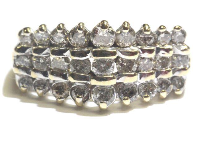 14k white gold .87ct I1-2 H diamond cluster womens ring 4.7g estate vintage