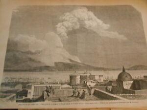 Sensible Gravure 1872 - Eurption Du Vésuve Vue De La Terrasse De Santa Luccia Usines Et Mines