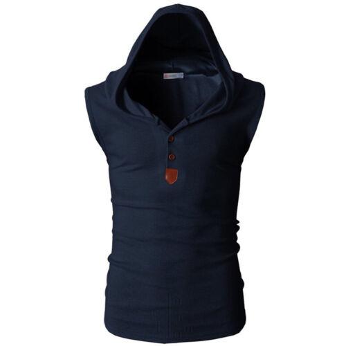Men/'s Sleeveless Hoodie T-shirt Sweatshirt Muscle Sports Tank Tops Vest Shirts