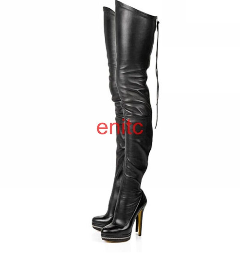 Ladies Stiletto Heels Platform Zip Up Over Knee Thigh High High High Boots Club shoes 1-10 d0efa5