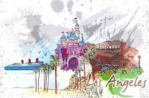 Art-Postcard-Los-Angeles-California-USA-Landmarks-City-View-Travel-28J