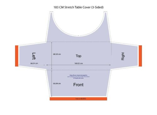 Stretch Table Cover Trade Show Exhibition 3 Sided Tablecloth for 6 Feet Table