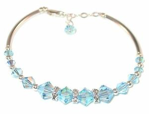 AQUAMARINE-Blue-Crystal-BRACELET-Sterling-Silver-Handcrafted-Swarovski-Elements