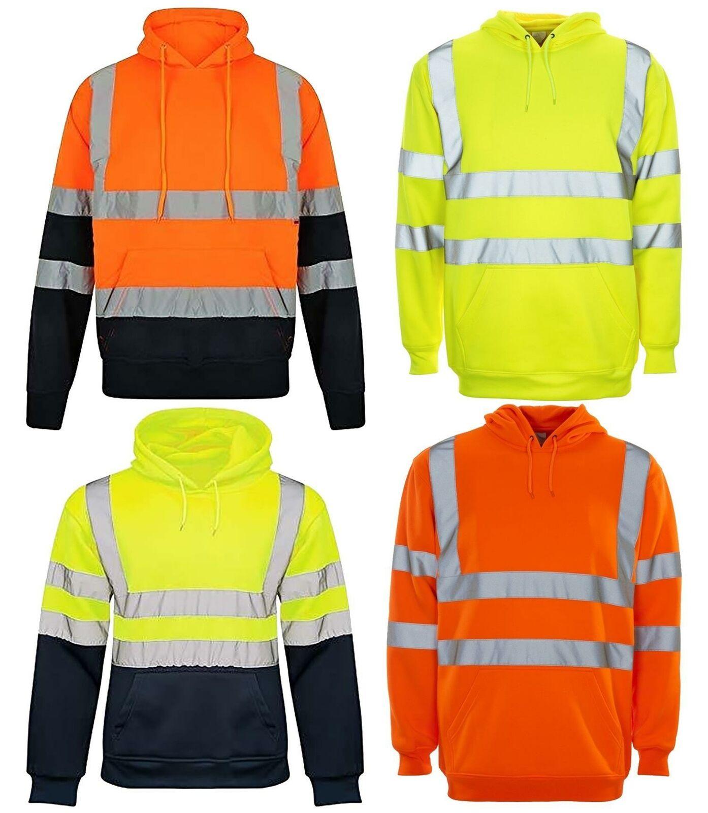 Mens Hi Vis 2 Tone Pullover Hoodie High Visibility Work Wear Hooded Sweatshirt