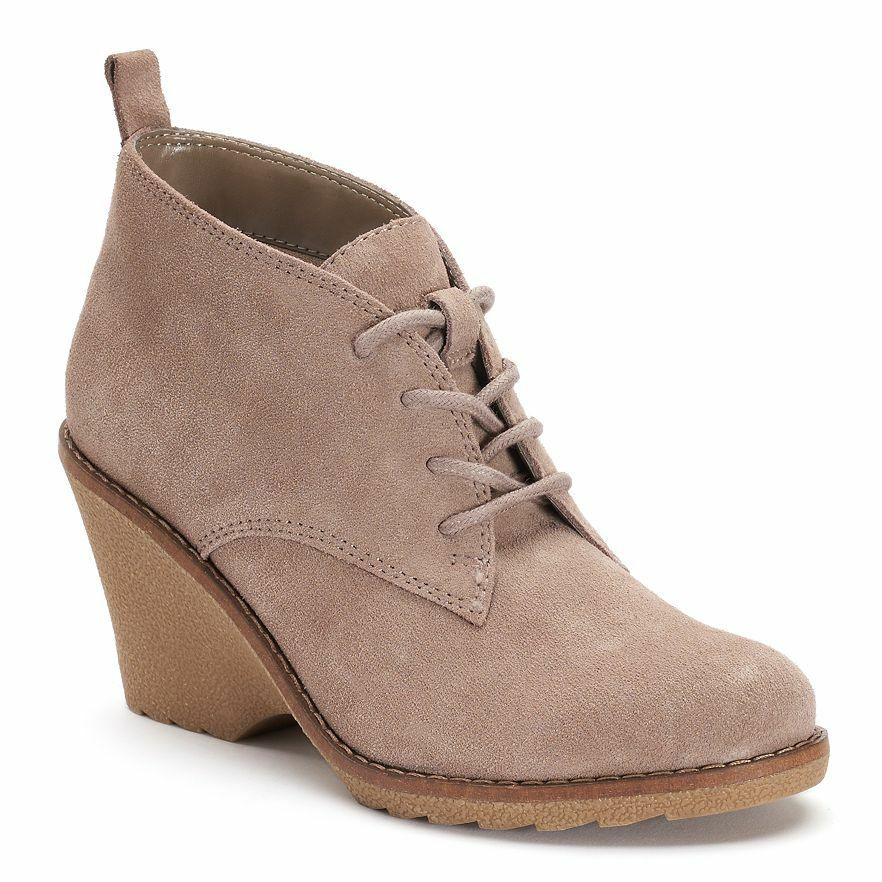 NWT Women's SONOMA Goods for Life Suede Ankle Boots Choose Size Taupe
