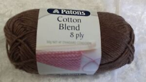 Patons-Cotton-Blend-8-Ply-20-Brown-Cotton-Acrylic-50g