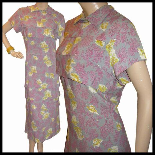 Vtg 30s Pintuck RAYON Tree Pink NOVELTY Print Dres