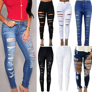 Women-Denim-Skinny-Ripped-Pants-High-Waist-Elastic-Jeans-Slim-Pencil-Trousers