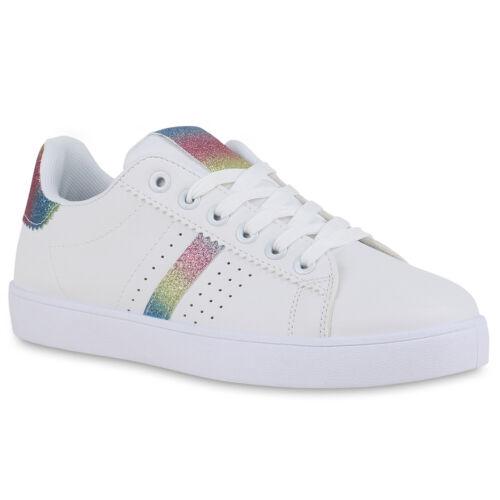 Damen Sneaker Low Glitzer Cut-Outs Sportliche Schnürer Schuhe 834767 Trendy