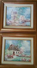 "PAIR VINTAGE OIL PAINTINGS 8""x10"" COTTAGE FIELD PASTEL COLORS SIGNED I. COSTELLO"