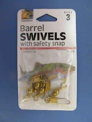 14 Danielson Barrel Swivels With Safety Snaps Black Size 14 NEW 2 Package of 7