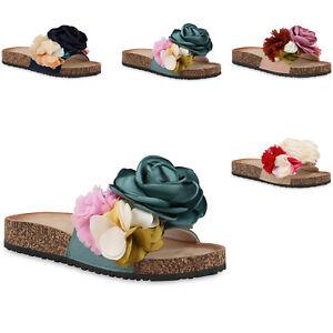 new styles 79565 b922b Details zu Damen Sandalen Pantoletten Blumen Sommer Schuhe Schlappen 823623  Trendy Neu