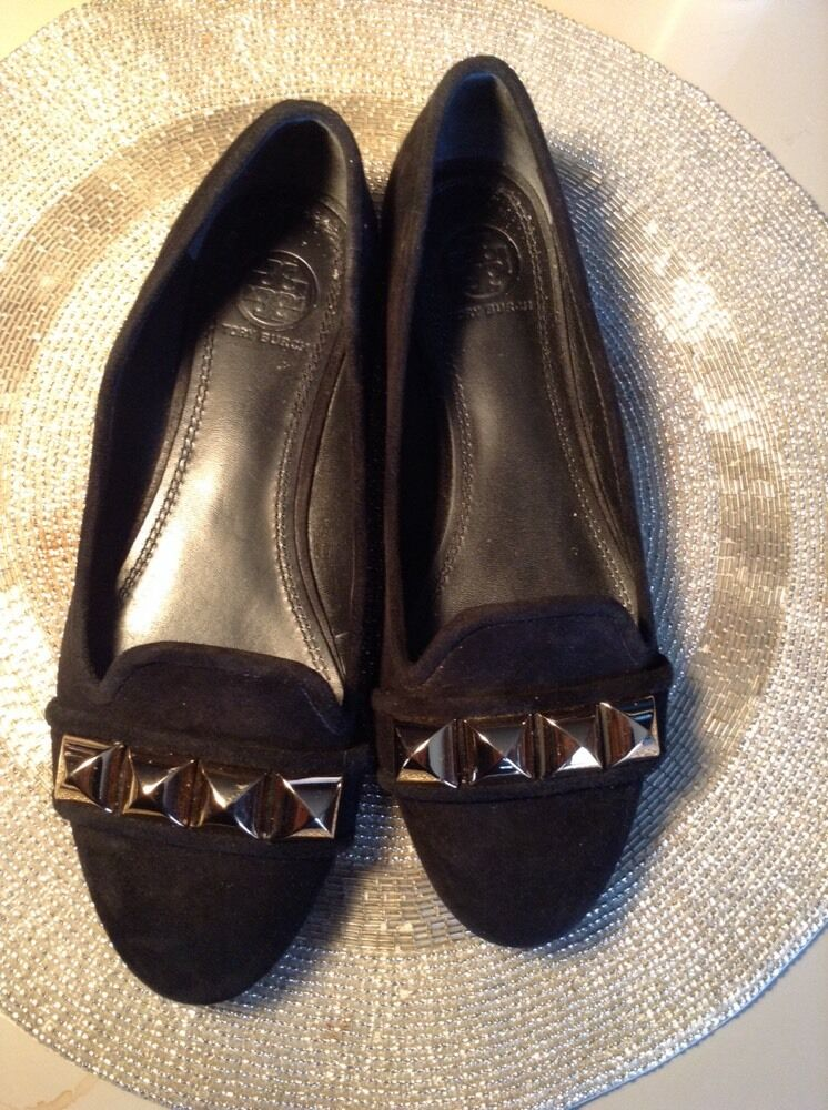 Tory Burch  Flats WITH oro METALS Toe nero Suede Dimensione 6.5 Retail  295